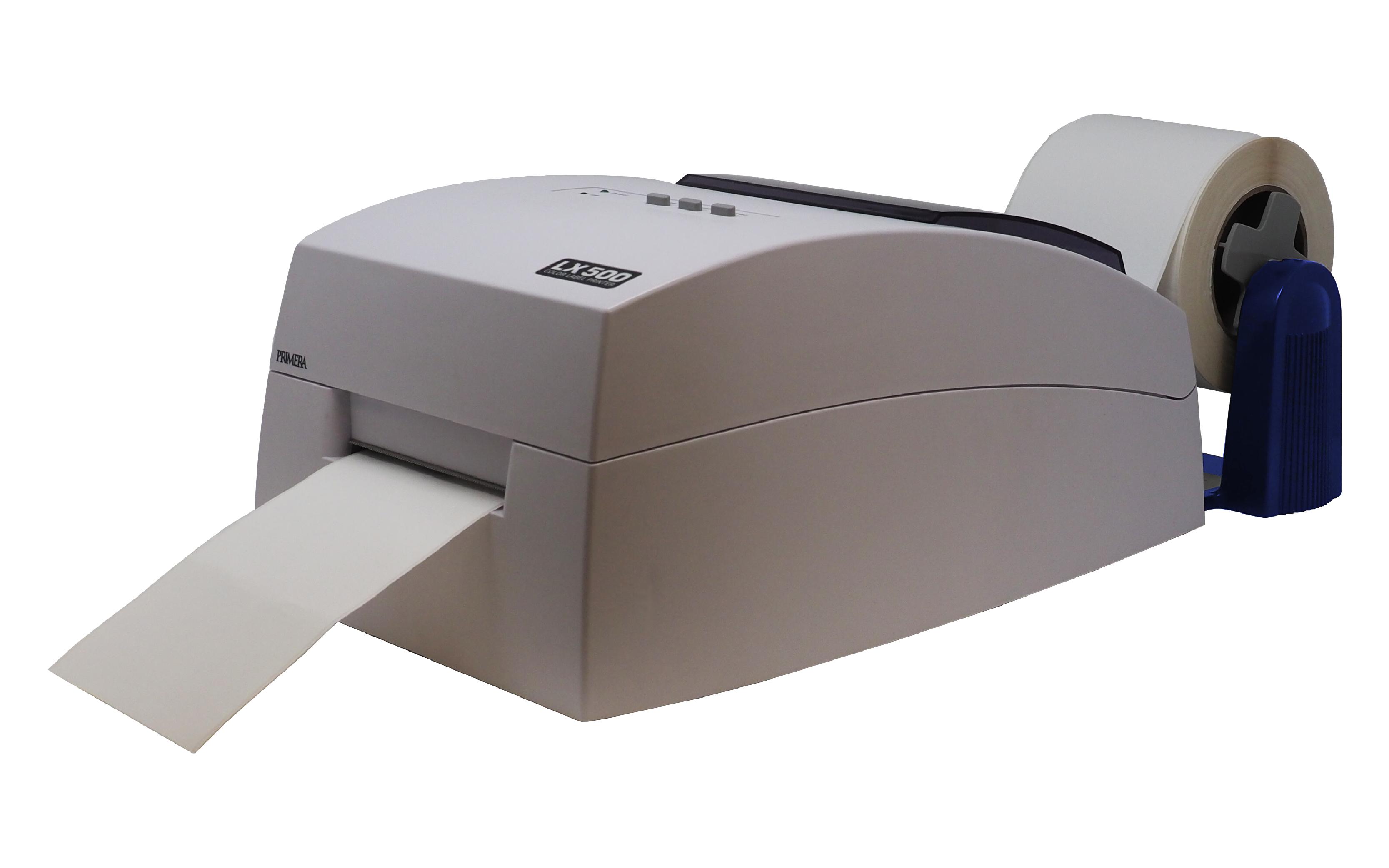 Primera LX500 printer with external label unwinder
