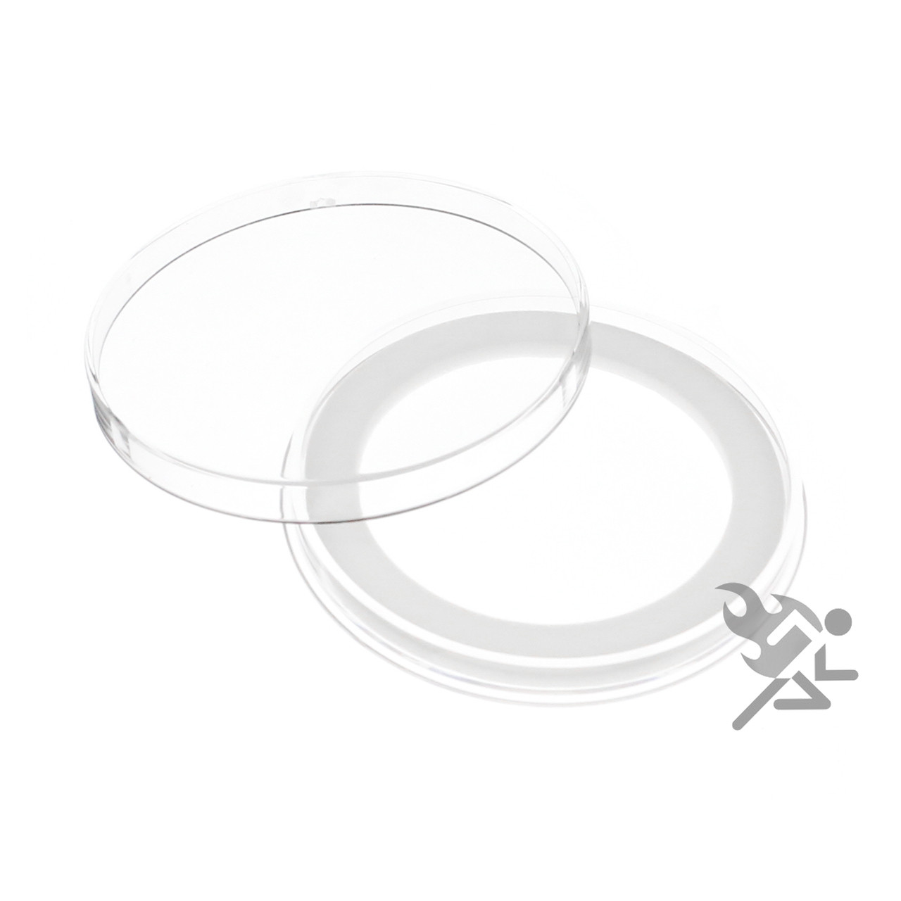 """Air-Tite Brand Y50mm Black Ring Capsule Holders for 2/"""" Silver Lunar Series Qty 3"""