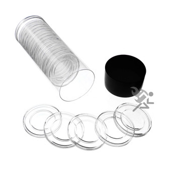 TUBE 21mm COIN CAPSULES - 20 TOTAL NICKEL COIN SAFE BRAND