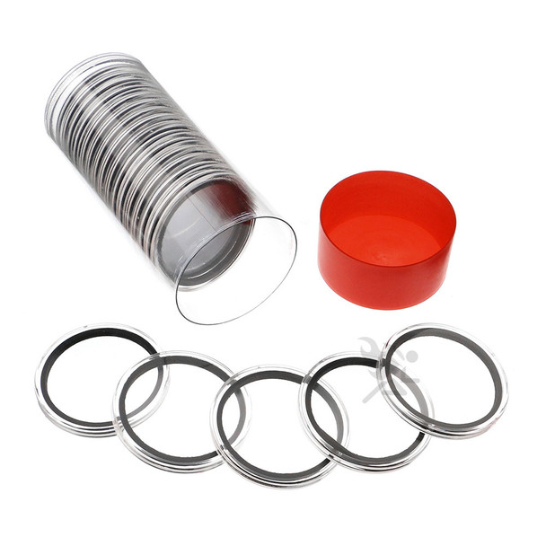 Capsule Tube & 20 Air-Tite 42mm Coin Holders for Casino Tokens & Chips