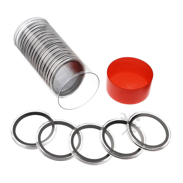 Capsule Tube & 20 Air-Tite 41mm Coin Holders for Casino Tokens & Chips