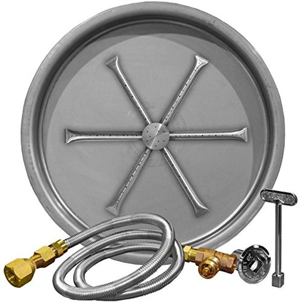 Firegear Round Stainless Steel Burning Spur Kit for Outdoor Fire-pit - Match Light Ignition