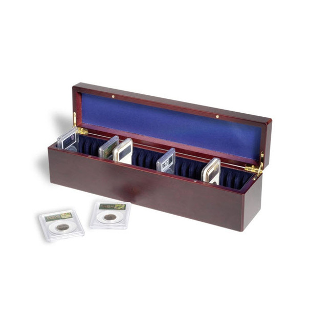 Lighthouse Mahogany Wood Finish Storage Box for 25 Certified Graded Coin Slabs