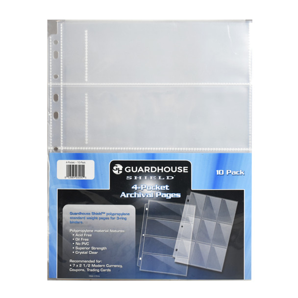 Guardhouse 4 Pocket Binder Pages for Modern U.S. Currency, 10 Pages