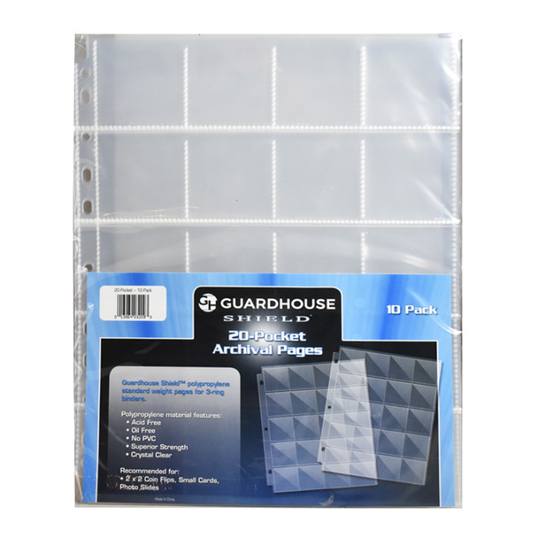 Guardhouse 20 Pocket Binder Pages for 2x2 Coin Flips, 10 Pages