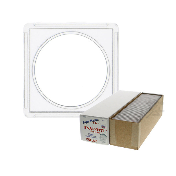 Edgar Marcus Snap-Tite 2x2 Plastic Coin Holders for Silver Dollar, 25 ct Box