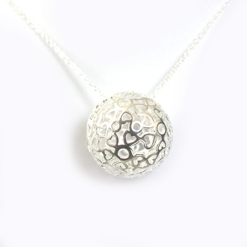 Round Cage Pendant with Heart Cut Outs Women Necklace, 18K White Gold Plated