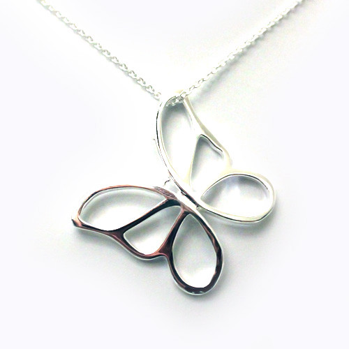 925 Sterling Silver Beautiful Butterfly Pendant, Elegant Women Necklace 18K White Gold Plated