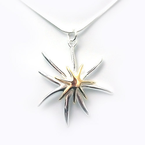 925 Sterling Silver Double Star Pendant, Elegant Women Necklace 18K White Gold Plated