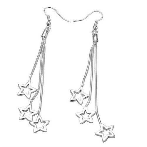 925 Sterling Silver Dangle Earrings with Shimmering Stars