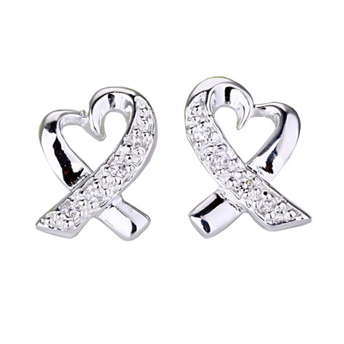 925 Sterling Silver Heart Earrings with Stunning Crystal Accents