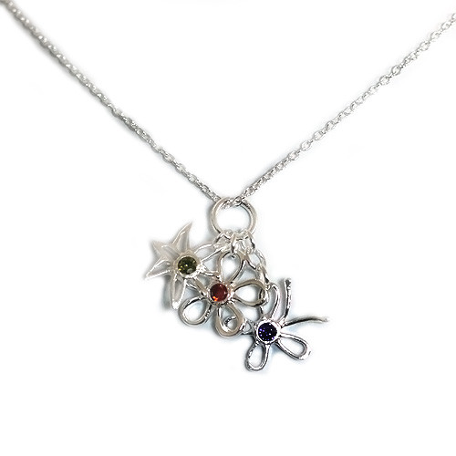 925 Sterling Silver Butterfly and Flower Pendant necklace