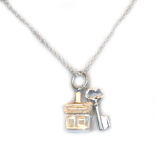 925 Sterling Silver House and Key Pendant necklace, Free 18 Inch Chain.