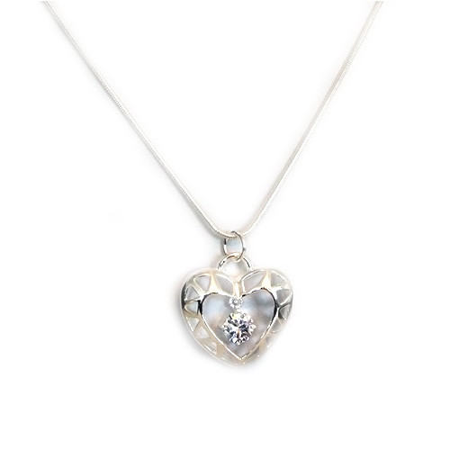 925 Sterling Silver Heart Pendant with a Center Crystal necklace, Free 18 Inch Chain