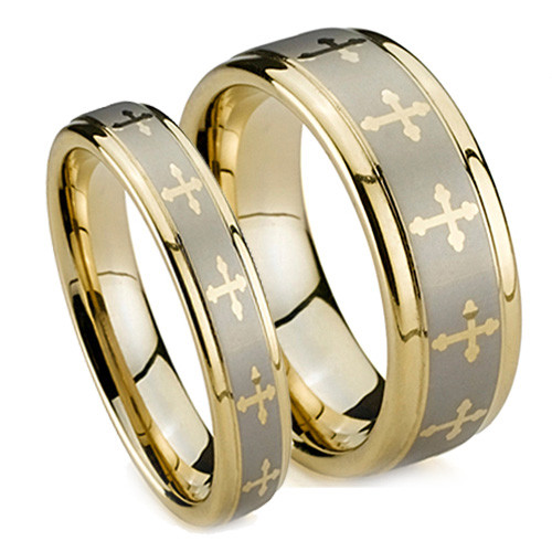 Matching Tungsten Rings, Gold Plated Cross Wedding Bands Set, 5MM & 8MM