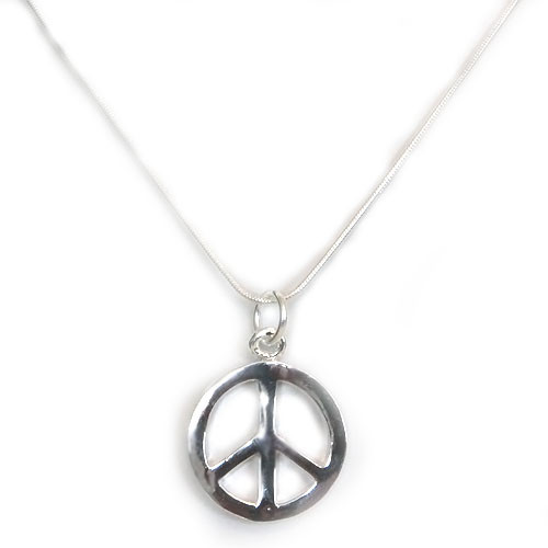 Astonishing 925 Sterling Silver Peace Sign Pendant necklace, Free 18 Inch Chain!