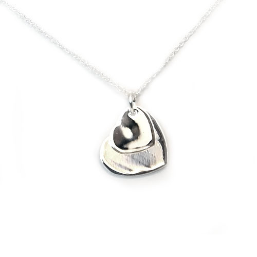 925 Sterling Silver Double Heart Pendant necklace, Free 18 Inch Chain!