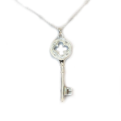 925 Sterling Silver Sparkling Key Pendant, 20 Inch Chain!