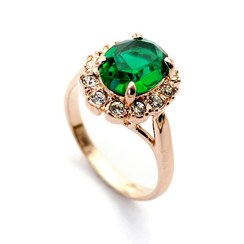 Rose-Gold Plated Promise Ring with Emerald Oval-Cut CZ Stone and Crystal Accents - Available in Whole Sizes 6-9