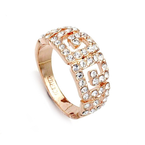 Clear CZ Encrusted Rose-Gold Plated Promise Ring - Available in Whole Sizes 6-9