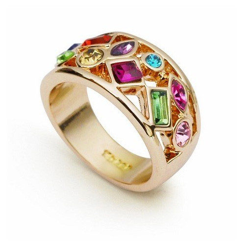 Promise Ring with Rose-Gold plating and Colorful Crystals - Available in Whole Sizes 6-9