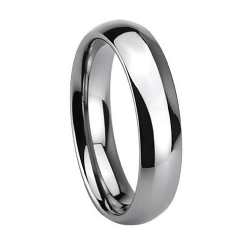 Women Tungsten Ring,  Classic Wedding Band, High Polish Finish, Chrome, 6MM