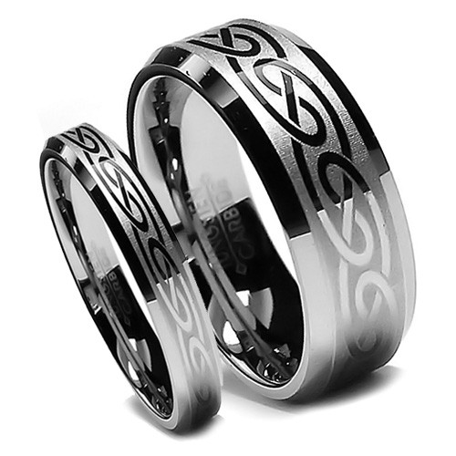 Matching Tungsten Wedding Band Set, Laser Etched Celtic Design