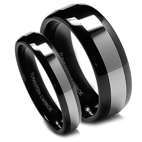 Matching Tungsten Wedding Band Set, Black Rings, Titanium Top, High Polish