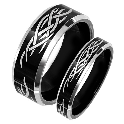Matching Tungsten Black Wedding Band Set, Laser Etched Tribal Rings
