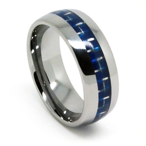 Mens Mens Tungsten Ring, Wedding Band  with Blue Carbon Fiber, High Polish, 8MM