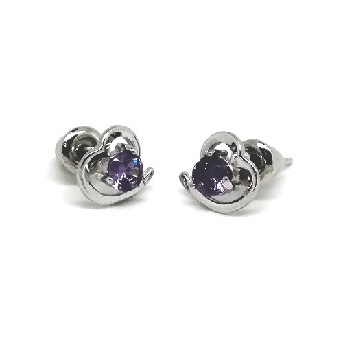 925 Sterling Silver Heart Stud Earrings with an Amethyst Crystal