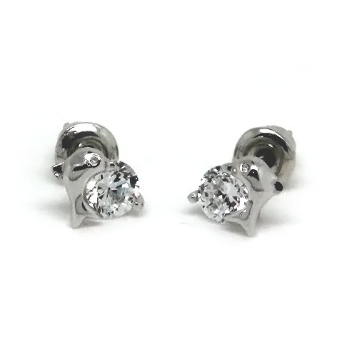 925 Sterling Silver Dolphin Crystal Studded Earrings