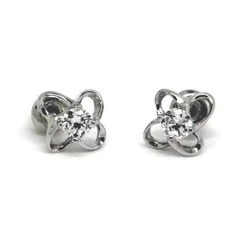 925 Sterling Silver Flower Stud Earrings with a Clear Crystal Accent