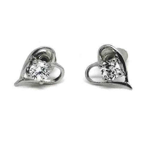 925 Sterling Silver Pointed Heart Stud Earrings with a Crystal Accent