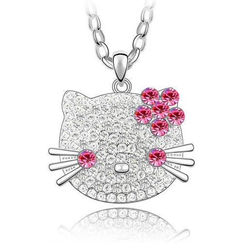 Pink Crystal Pendant, Hello Kitty Women Sweater Necklace FREE  Chain