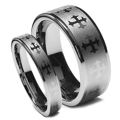 Matching Wedding Tungsten Rings, Flat Top Brush with Crosses