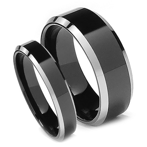 Matching Tungsten Wedding Band Set, Black Rings, High Polish, Bevel Edge