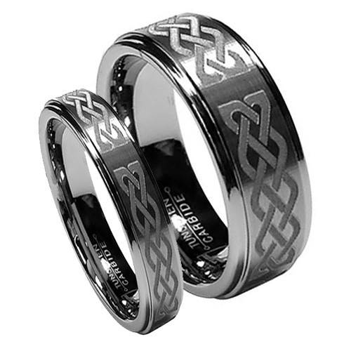 Matching Tungsten Wedding Band Set, Laser Etched Celtic  Rings