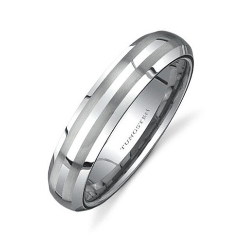 Women Tungsten Ring, Classic Wedding Band with Double Brush Lines, 6MM