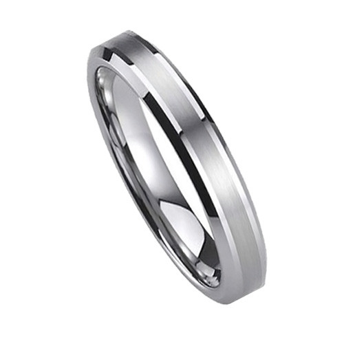 Women Tungsten Carbide Wedding Band, Brush Matted Finish Top, Beveled Edge, 6MM