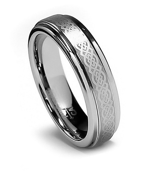Women Celtic Tungsten Wedding Band, Flat Top, Step High Polish Edge, 6MM