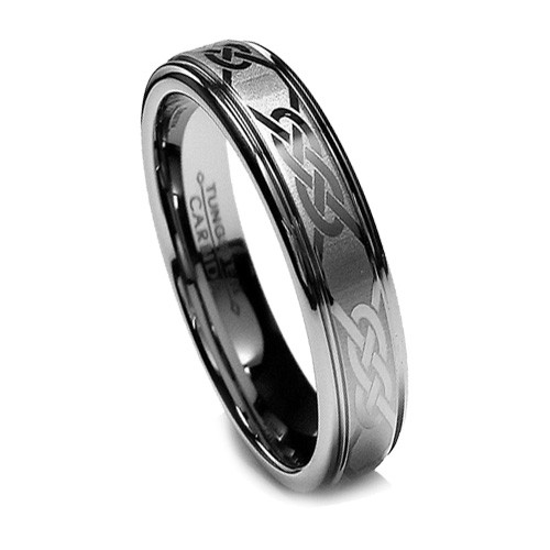 Women Tungsten Wedding Band, Laser Etched Celtic Design, Step Hig Edge, 6MM
