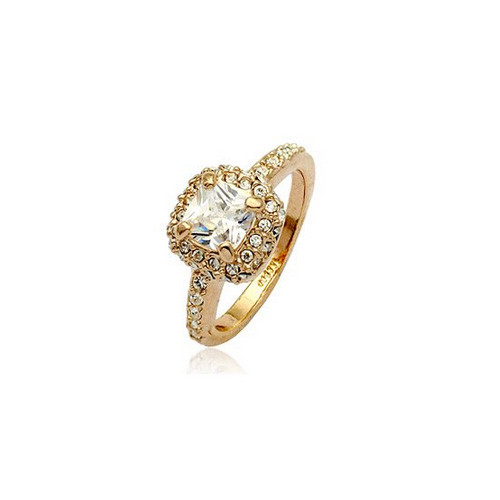 Rose-Gold Plated Promise Ring with Large Square-cut CZ Stone