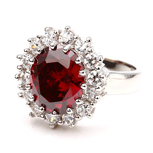 White-Gold Plated Ruby Red Fashion Ring