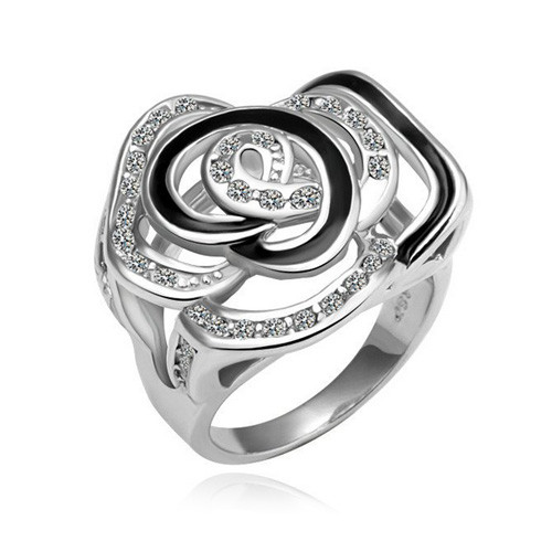 White-Gold Plated, Sparkling Rose Fashion Ring
