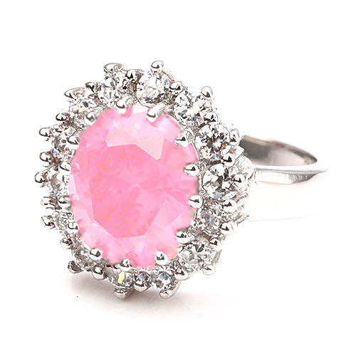 White-Gold Plated Pink CZ Gem Fashion Ring