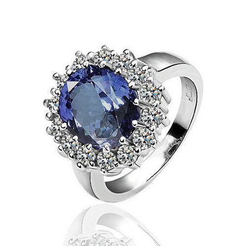 White-Gold Plated Royal Blue Fashion Ring