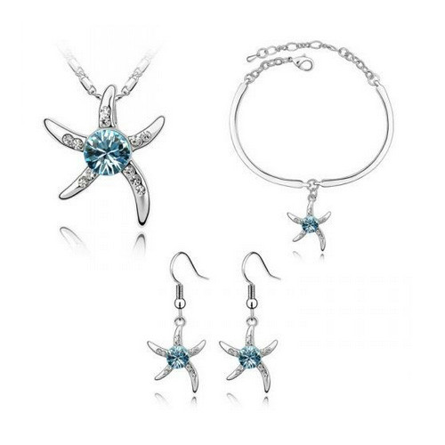 Fashionable Light Blue Starfish Necklace, Earring and Bracelet Jewelry Set