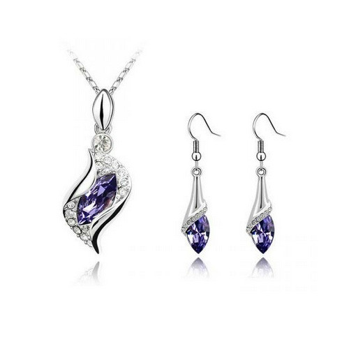 Amethyst Crystals Necklace and Earring Jewelry Set