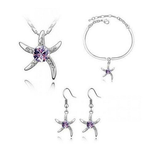 Amethyst Starfish Necklace, Earring and Bracelet Jewelry Set